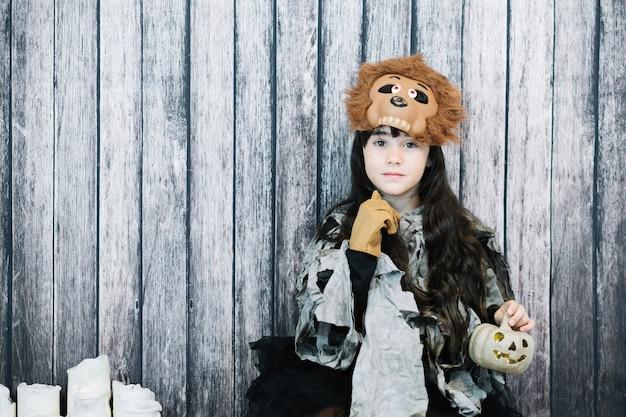 Cute girl in monster costume
