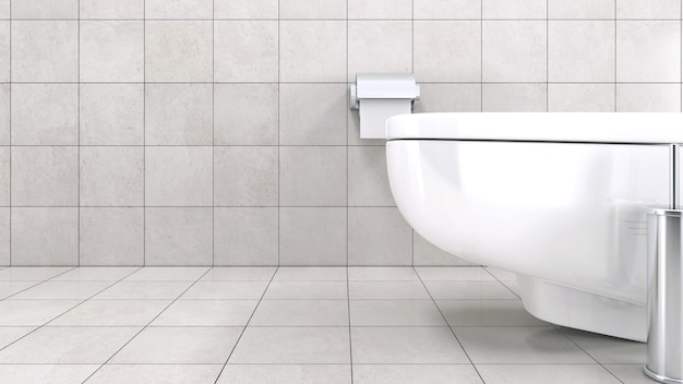 Cuvette de toilette blanche dans une salle de bain moderne