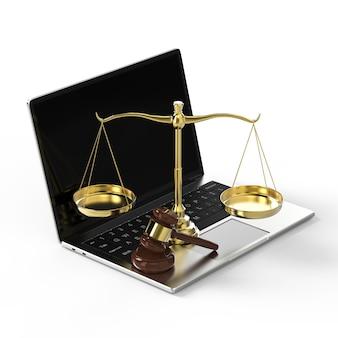 Cyber-loi ou concept de droit internet avec échelle de droit et bloc-notes