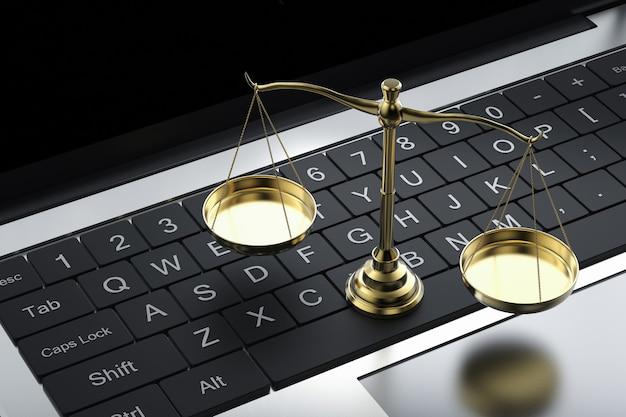 Cyber-loi ou droit internet avec échelle de droit et ordinateur portable