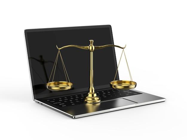 Cyber loi ou loi internet avec balance et ordinateur portable