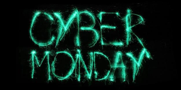 Cyber lundi, concept de vente. lettres lumineuses éclairées au néon sur fond noir. design moderne. vendredi noir, ventes, finances, publicité, argent, concept d'achats financiers
