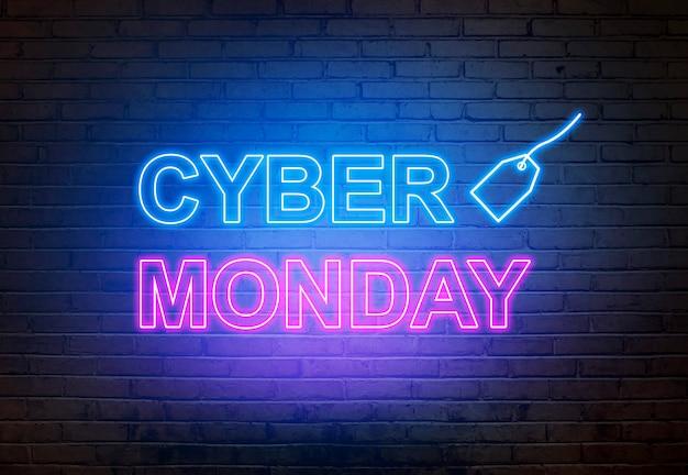 Cyber lundi texte d'une lampe électrique sur le mur