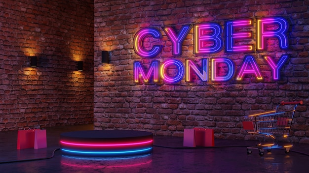Cyber monday neon light glow podium sur fond de mur de briques. rendu 3d