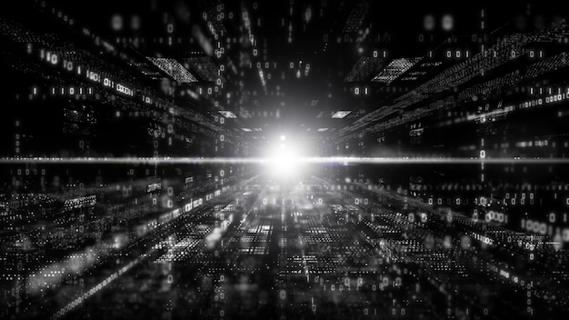Cyberespace numérique avec particules et concept de connexions de réseau de données numériques. couleur noir et blanc