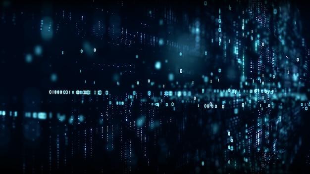 Cyberespace numérique avec particules et concept de connexions de réseau de données numériques