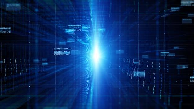 Cyberespace numérique avec particules et concept de fond de connexions réseau de données numériques.