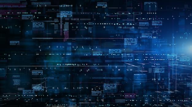 Cyberespace numérique avec particules et connexions réseau de données numériques connexion haut débit