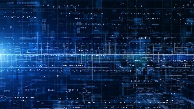 Cyberespace numérique avec des particules et des connexions réseau de données numériques