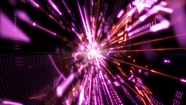 Cyberespace numérique avec particules et technologie connexions réseau numériques. fonds abstraits géométriques