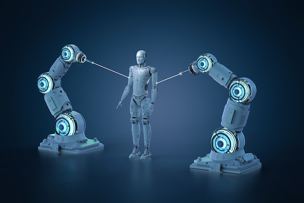 Cyborg de fabrication de chaîne de montage de robot de rendu 3d