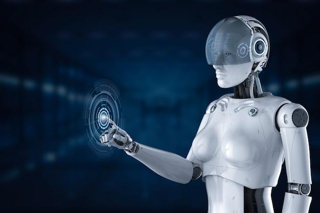 Cyborg femelle de rendu 3d avec affichage graphique