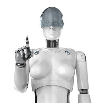 Cyborg femelle de rendu 3d avec le doigt de lunettes