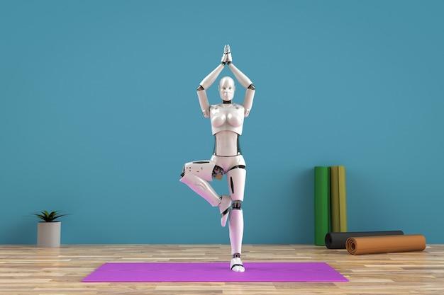 Cyborg femelle de rendu 3d faire du yoga sur tapis