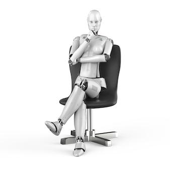 Cyborg femelle de rendu 3d s'asseoir dans une chaise