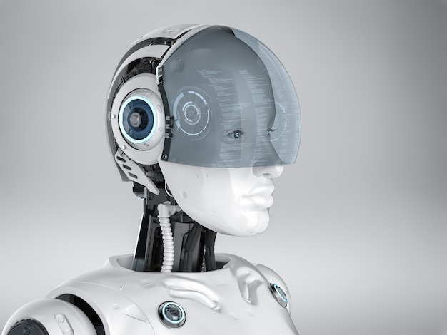 Cyborg féminin de rendu 3d avec lunettes ou casque