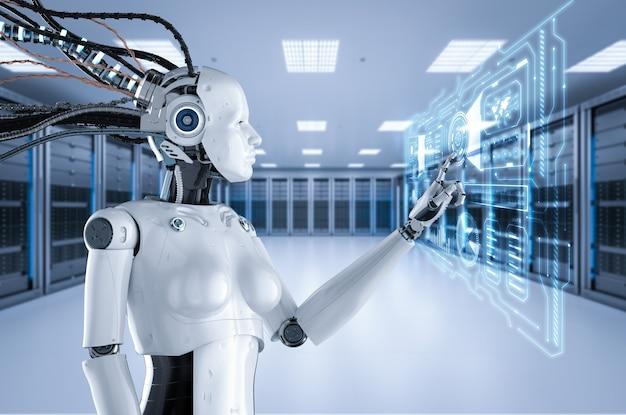 Le cyborg féminin de rendu 3d ou le robot travaillent dans la salle des serveurs