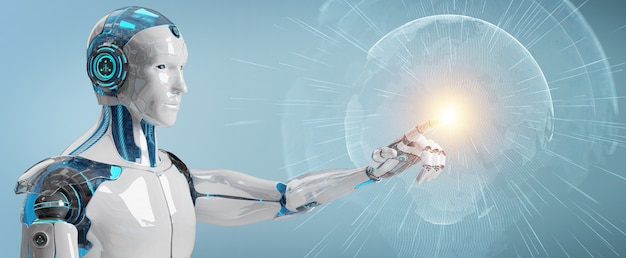 Cyborg homme blanc utilisant le rendu 3d de l'interface planète terre