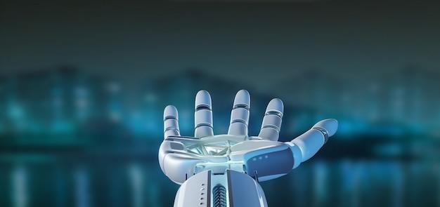 Cyborg main de robot sur une ville