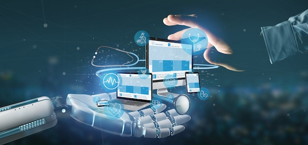 Cyborg main tenant des appareils avec stéthoscope médical iconnd rendu 3d