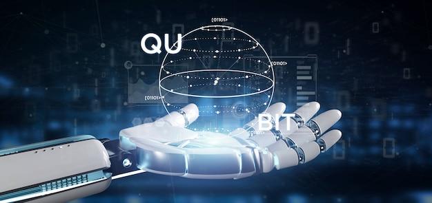 Cyborg main tenant concept informatique quantique avec rendu 3d icône qubit