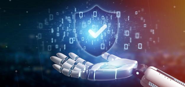 Cyborg main tenant un concept de sécurité web shield