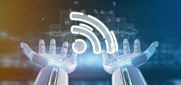 Cyborg main tenant une icône wifi avec des données tout autour
