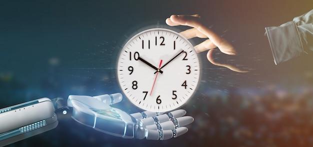 Cyborg main tenant une minuterie d'horloge rendu 3d