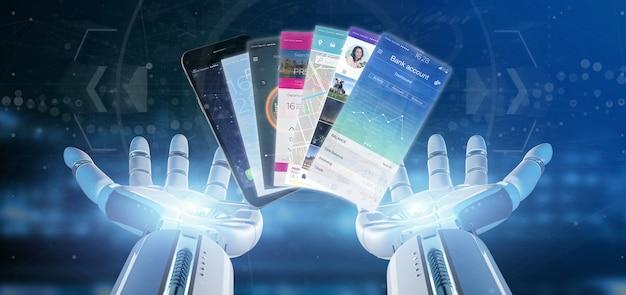 Cyborg main tenant le modèle d'application mobile sur un smartphone rendu 3d
