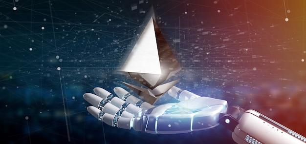 Cyborg main tenant un symbole de devise ethereum crypté volant autour d'une connexion réseau -