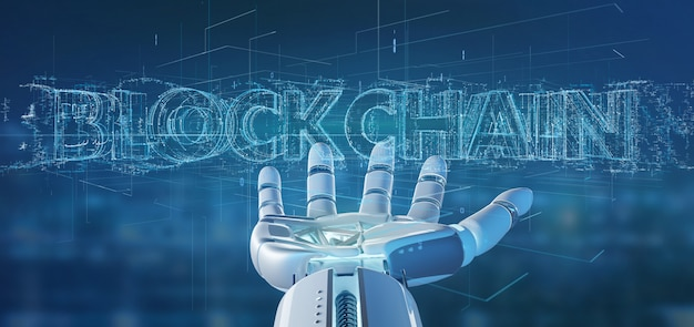 Cyborg main tenant un titre de blockchain rendu 3d