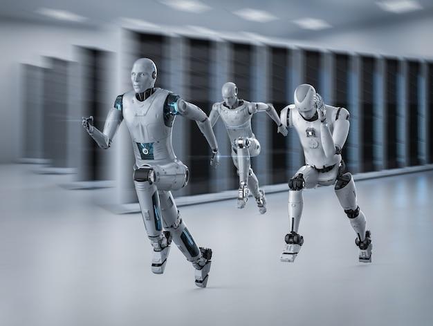 Cyborg de rendu 3d fonctionnant à grande vitesse en compétition