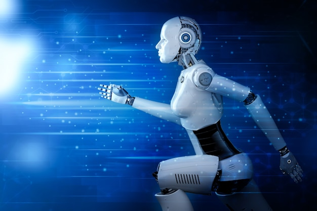 Le cyborg ou le robot féminin de rendu 3d court ou saute sur un fond futuriste