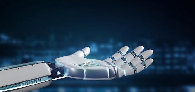 Cyborg robot main oncity rendu 3d