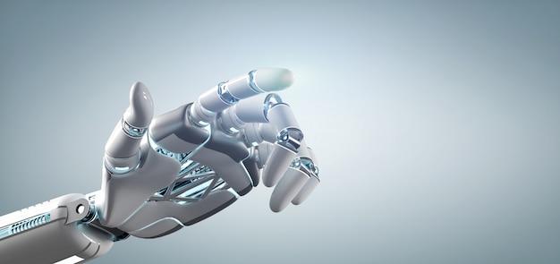 Cyborg robot à la main sur un uniforme