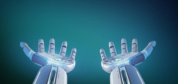 Cyborg robot part sur un fond uniforme rendu 3d