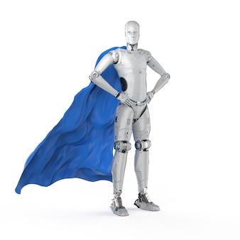 Cyborg de super-héros de rendu 3d avec cape bleue