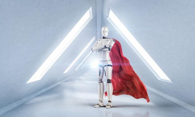 Cyborg de super-héros de rendu 3d avec cape rouge