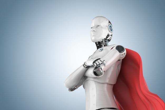 Cyborg de super-héros de rendu 3d ou robot d'héroïne avec cape rouge
