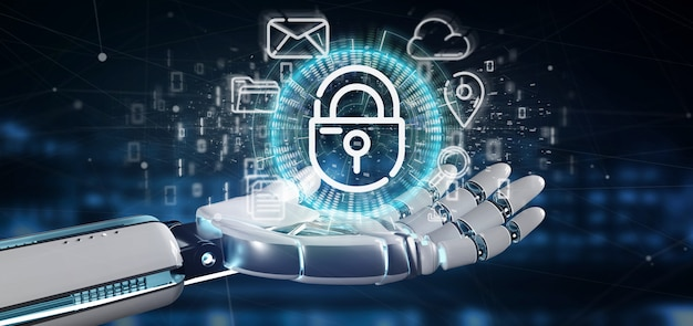 Cyborg tenant une icône de roue de cadenas de sécurité avec l'icône du multimédia et des médias sociaux, rendu 3d