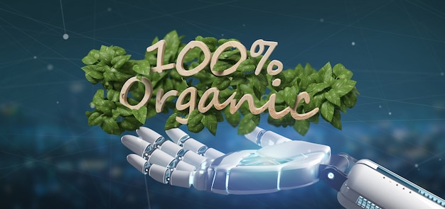 Cyborg tenant un logo en bois 100% organique avec des feuilles autour du rendu 3d