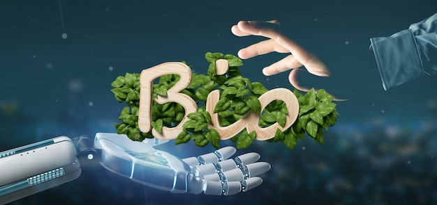 Cyborg tenant un logo en bois bio avec des feuilles autour du rendu 3d
