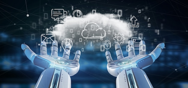 Cyborg tenant un nuage d'icône multimédia rendu 3d