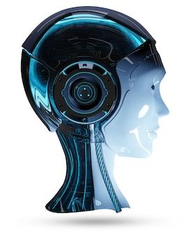 Cyborg, tête, intelligence artificielle, rendu 3d