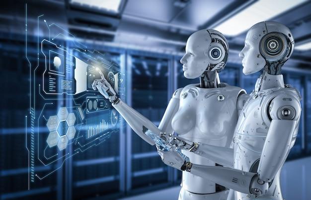 Cyborgs de rendu 3d travaillant avec une tablette numérique dans la salle des serveurs