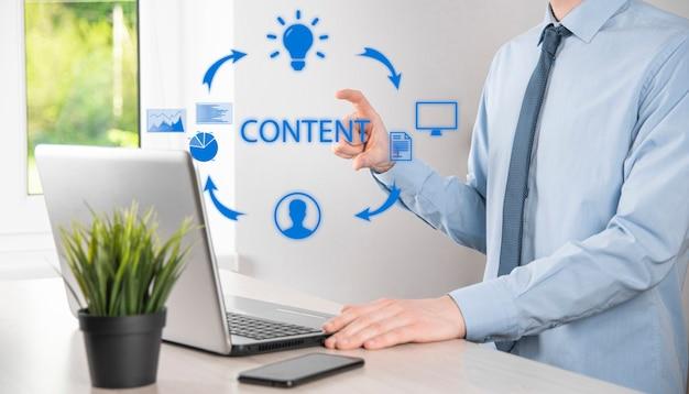 Cycle de marketing de contenu - création, publication, distribution de contenu pour un public ciblé en ligne et analyse.