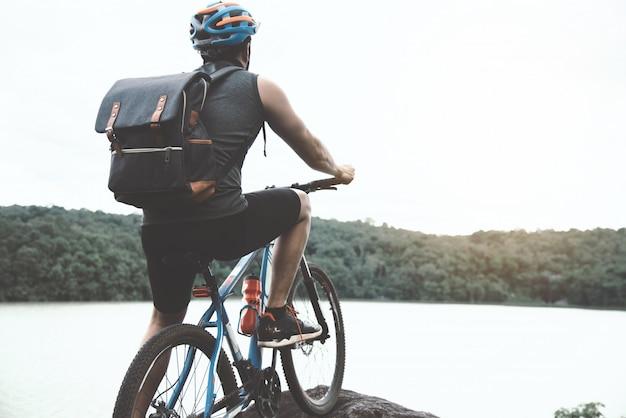 Cycliste, ensoleillé, jour, vélo, aventure, voyage, photo