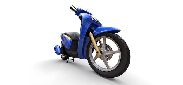 Cyclomoteur bleu urbain moderne sur fond blanc. illustration 3d.