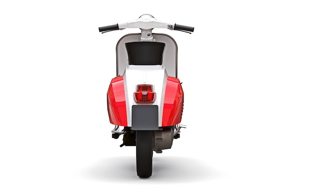 Cyclomoteur européen vintage rouge et blanc sur fond blanc. rendu 3d.