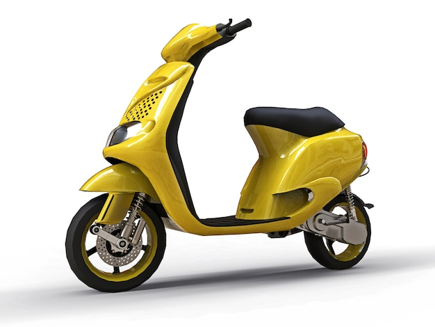 Cyclomoteur jaune urbain moderne sur fond blanc